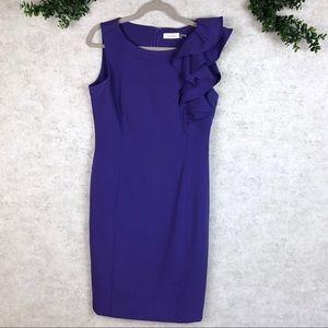 Calvin Klein Ruffled Shoulder Sheath Dress